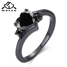 MDEAN Black Gold Color Engagement Rings For Women black AAA Zircon Jewelry Fashion Women Wedding Ring Size 6 7 8 9 10 H519 mdean rose gold color ring purple stone aaa zircon jewelry for women engagement wedding fashion wholesale size 5 6 7 8 9 h083