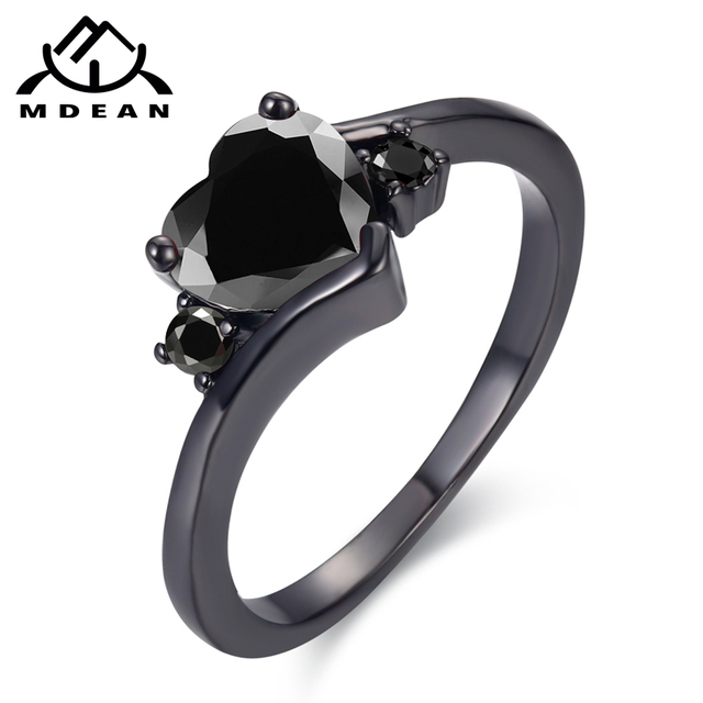 MDEAN Black Gold Color Engagement Rings For Women black AAA Zircon Jewelry Fashion Women Wedding Ring Size 6 7 8 9 10 H519
