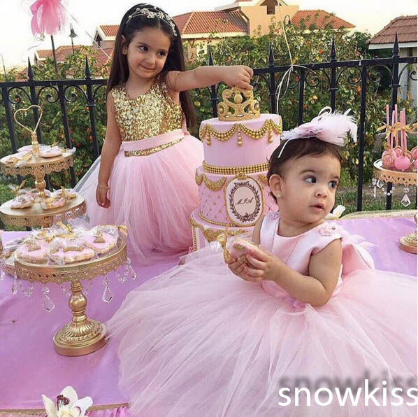 Cute hot sale pink tulle toddler kids girl dress O-neck A-line backless Draped with butterfly and sequins birthday party dresses недорго, оригинальная цена