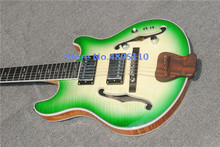 High-quality customized jazz six-string electric guitar, double f-hole semi-hollow electric guitar, green, free delivery,
