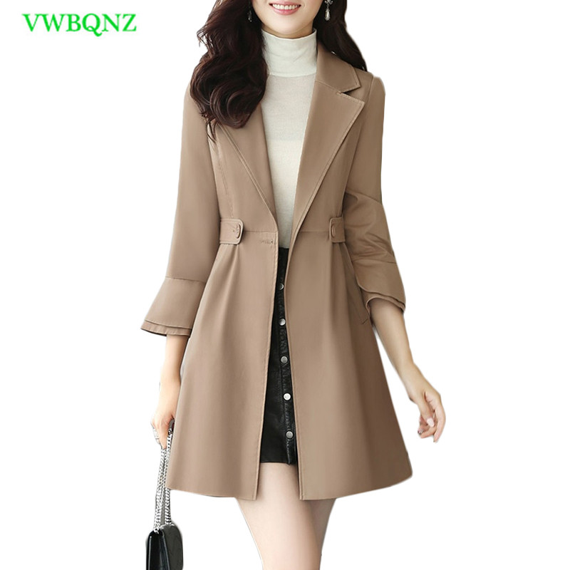 Autumn And Winter New Women Long Windbreaker coat Women's Korean Slim Wild   Trench   coats Female Bell sleeve Khaki Outerwear A743