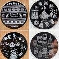 4 unids navidad búho de Halloween 4 diseño de acero inoxidable placas de uñas uñas de arte de la imagen de Konad impresión sello estampado de plantilla de manicura
