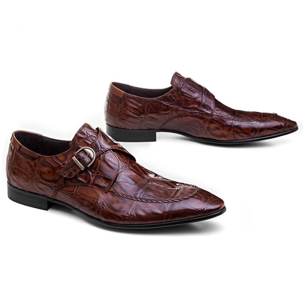 Крокодил зрна смеђе тан / црне менс - Мушке ципеле - Фотографија 2
