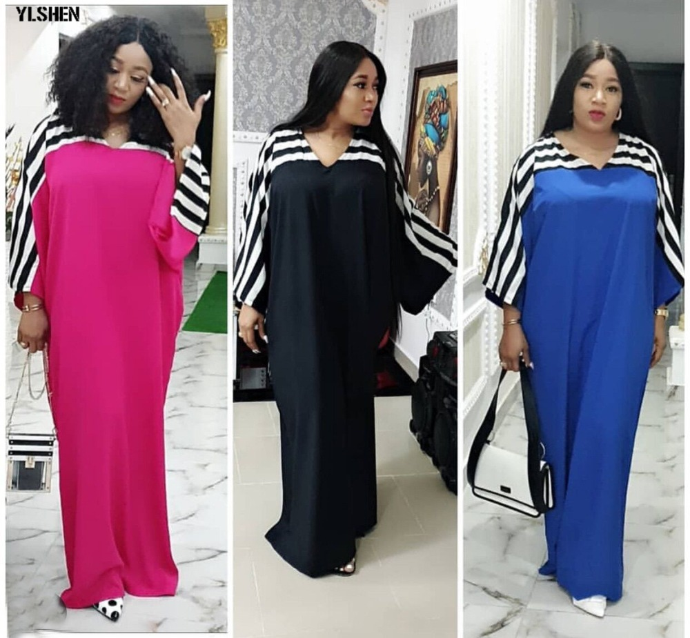 Super Size African Dresses for Women Dashiki Stripe African Clothes New Bazin Riche Sexy V-neck Long Africa Dress Woman Clothing 02