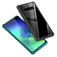 Luxury Metal Bumper Armor Case For Samsung S10 Plus Transparent Glass Back Covers Galaxy S10Plus S 10 e