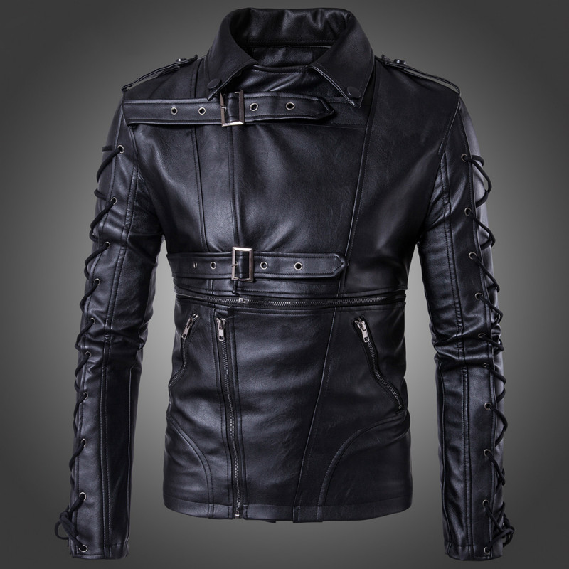 Men's PU mens Leather hooded Jacket men Slim Fit Motorcycle Zipper Casual Leather Coat Male Outerwear Clothing Fashion slim fit zipper front mens jacket