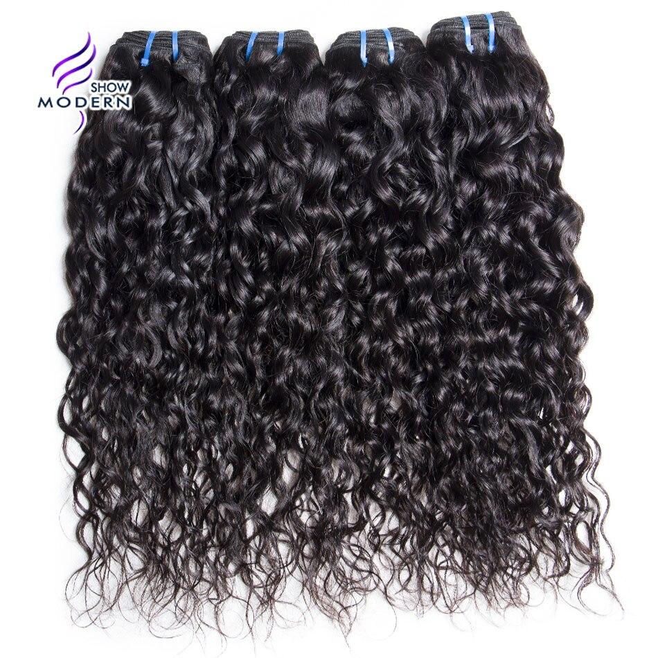 Modern Show 4 Pcs Brazilian Water Wave 100 Human Hair Weave Bundles Natural Color None Remy