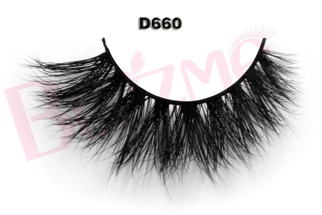 Nova Beleza 1 par 3D D660 vison cílios falsos 100% verdadeira pele de vison falso Handmade indivíduo tira grossa falso lash extensão