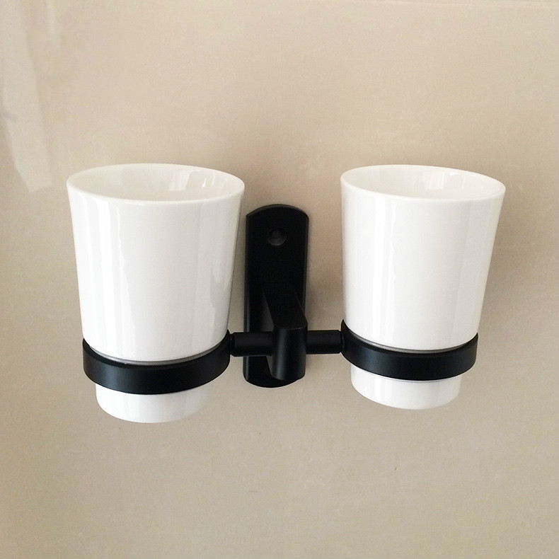 Wall Mounted Toothbrush Stand Black Double Toothbrush Holder Toothbrush Shelf with Double Cups Cup & Tumbler Holders Bathroom St image
