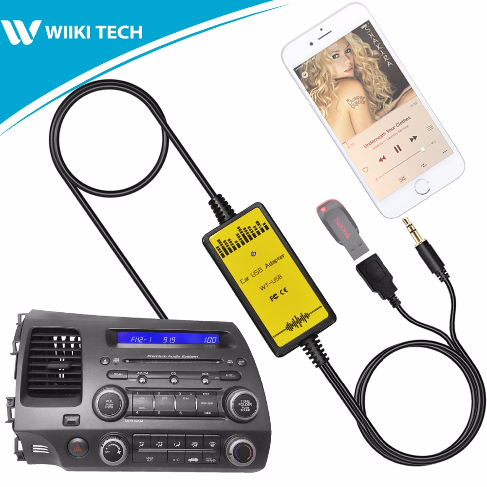 APPS2Car Car Radio USB AUX Interface Audio Mp3 Adapter CD Changer Adapter for Honda Civic 2006-2010 cd honda civic с 2006 бензин дизель 978 5 91774 930 3