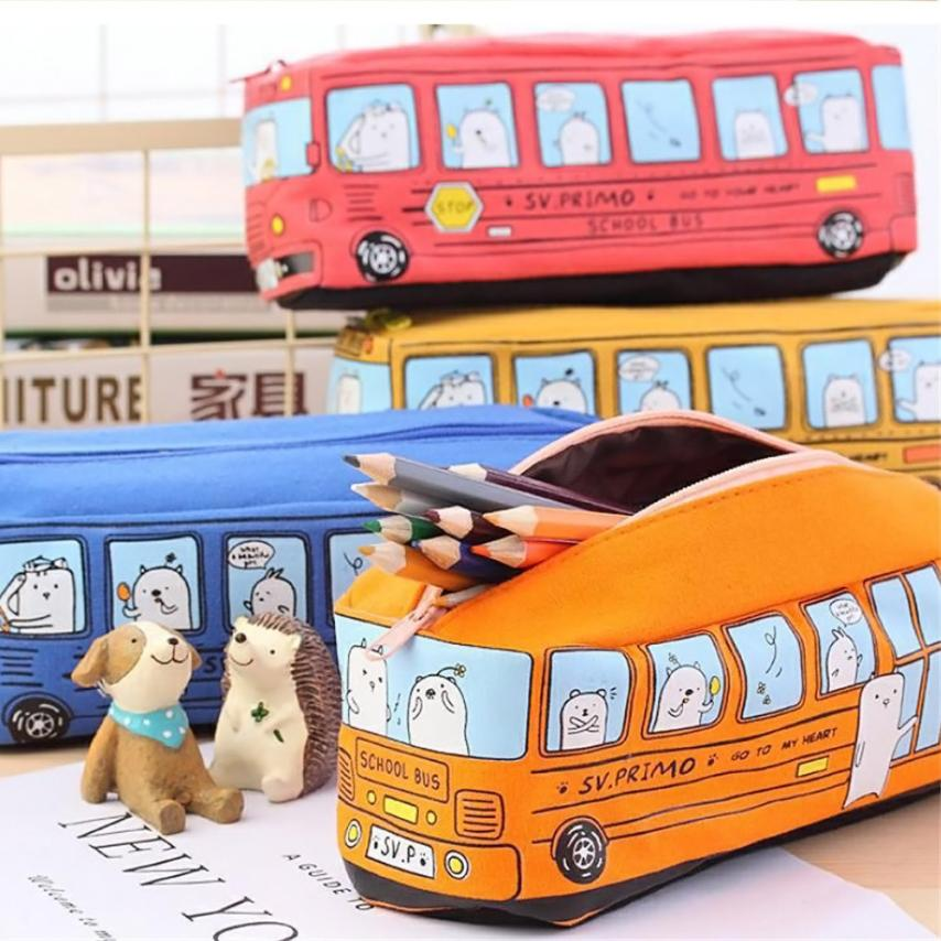 Portable Kids pencil Storage Bag Cats School Bus pencil case bag Canvas office stationery bag 2AU21