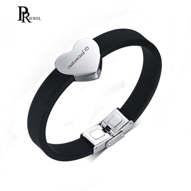 Engraving Men S Heart Silicone Bracelets Custom Name Id Text Bracelet Personalized For