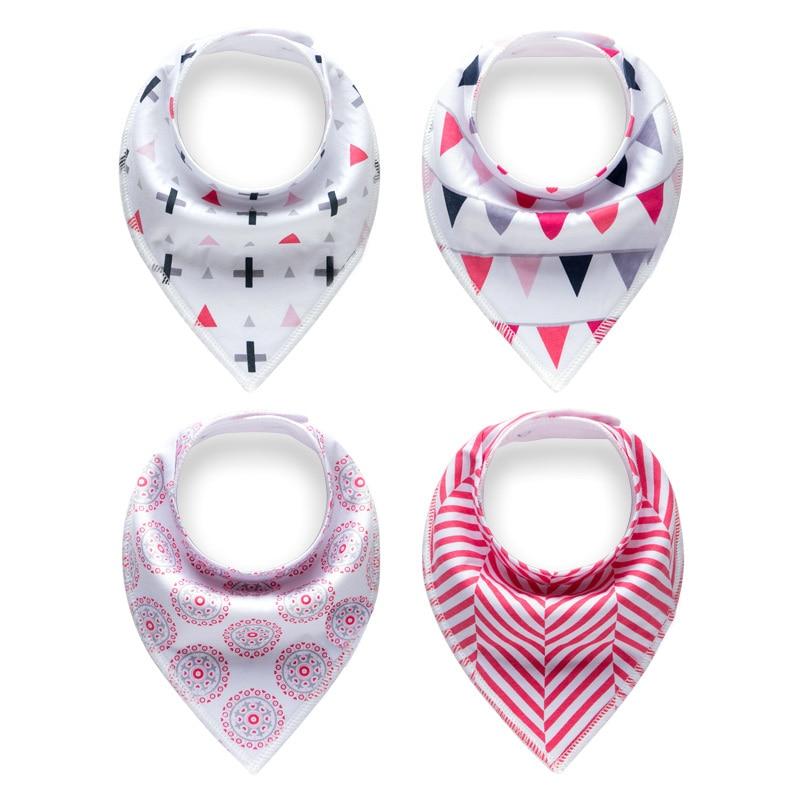 Muslinlife Fashion Flower Pattern Baby Bibs Cotton 4pcs/set Bandana Bibs Baby Burp Cloths Bandana Bibs Newborn Triangle Infant