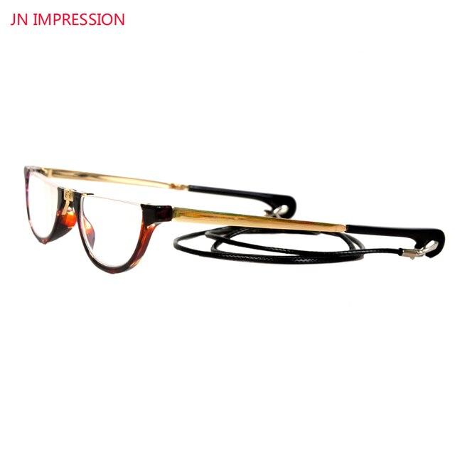 8391fed231 JN IMPRESSIONE Pieghevole Mezza Lens montatura Retro Occhiali Da Lettura  Donne Occhiali Da Vista Pieghevole Con