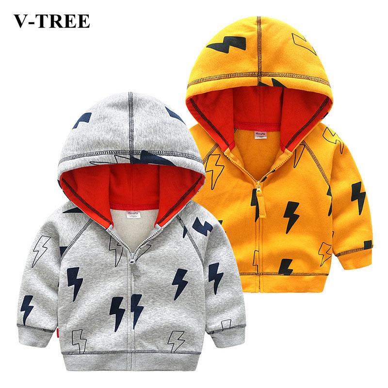 V-TREE флисовая Детская куртка зимние пальто для мальчиков свитер Lightning мальчик молния верхняя одежда ветровка для мальчиков детские толстовк...