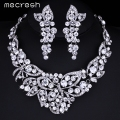 Mecresh Elegant Butterfly Crystal Bridal Jewelry Sets Gorgeous Silver Plated Wedding Party Prom Necklace Earrings Sets TL354