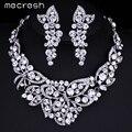 Mecresh Elegante Cristal Mariposa Hermosa Plateado Sistemas de La Joyería Nupcial Conjuntos Collar Pendientes Del Banquete de Boda de Baile TL354