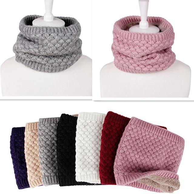 Для женщин шарф коренастый кабель уплотнительное кольцо вязаный шерстяной шарф труба шею воротник круг вязаный крючком косы шарф зима теплая женский шарф