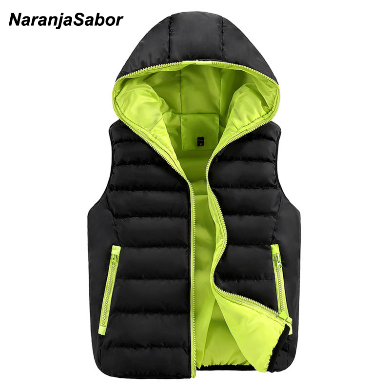 NaranjaSabor 2017 Autumn font b Men s b font Hooded Thick Vests Women Waistcoats Warm Mens