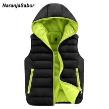 NaranjaSabor 2017 Autumn Men's Hooded Thick Vests Women Waistcoats Warm Mens Jackets Winter Sleeveless Coats Mens Brand Clothing
