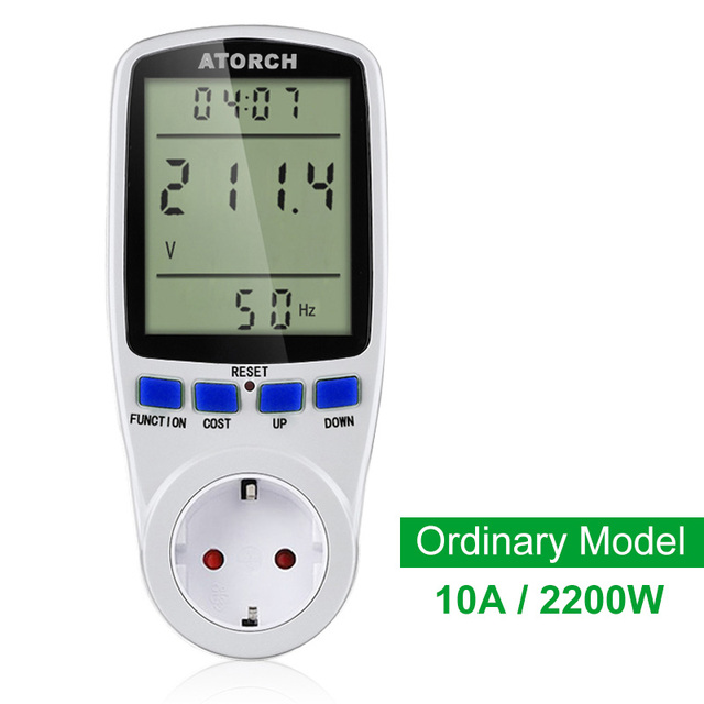 Ac Power Meter : Atorch ac power meter digital wattmeter energy eu watt