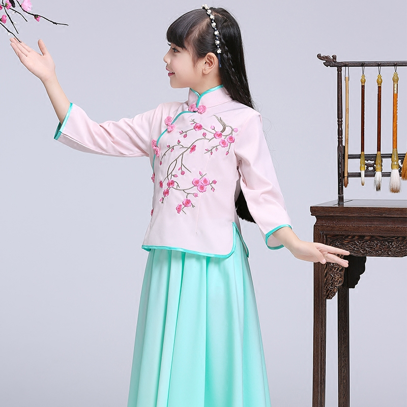 2018 autumn chinese qipao kids baby girl floral peacock cheongsam dress Chi-Pao Gift Clothes Children Clothing Girl Clothes 2017 autumn chinese style girl dress cotton short sleeve chinese cheongsam for kids baby girls qipao girls clothes