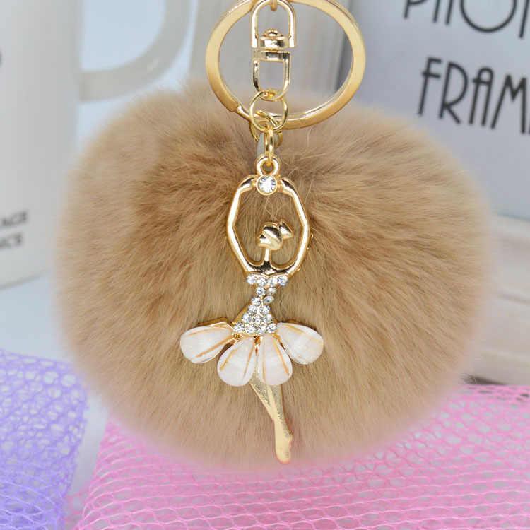 Moda chave da cadeia de Bola de Cabelo de Pele De Coelho Mulheres Pom Pom Keychain Bolsa Pingente de Chave Anel chave titular Jóias acessórios Presente