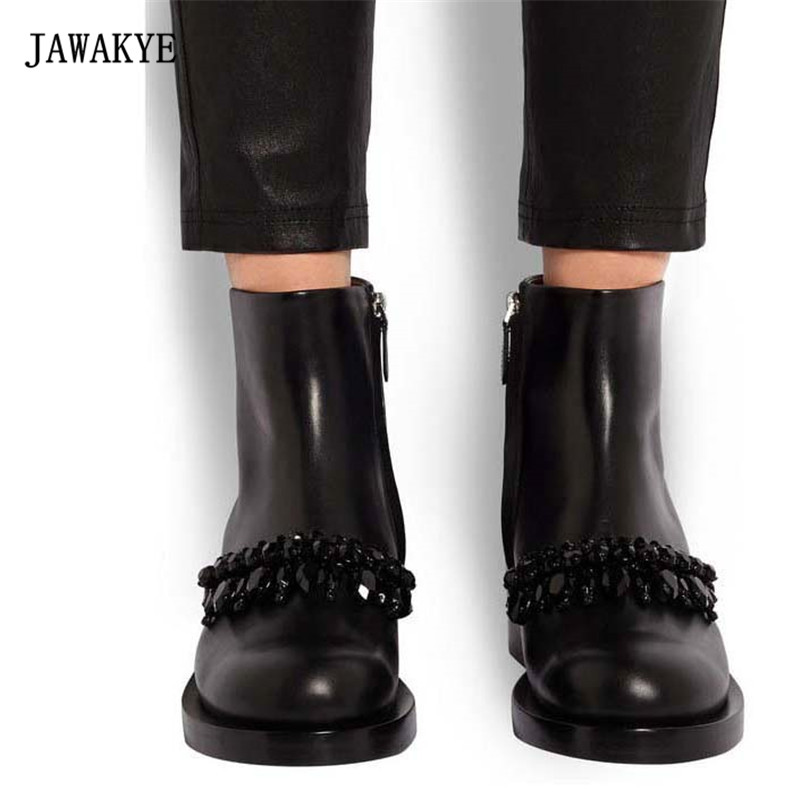 все цены на 2018 Black Rhinestone Chain Ankle Boots Woman Round Toe Real Leather Flat Martin Boots Women Fashion Zapatos Mujer онлайн