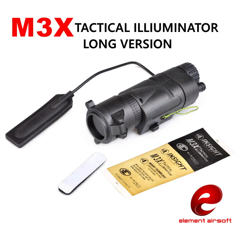 Element EX175 M3X Illuminator L-3 Tactical Flashlight Airsoft Hunting Weapon Light IR Filter Long Version ex 179 tactical torch element tactical light l 3 advanced illuminator combo with an peq 16a and m3x hunting tactical flashlight