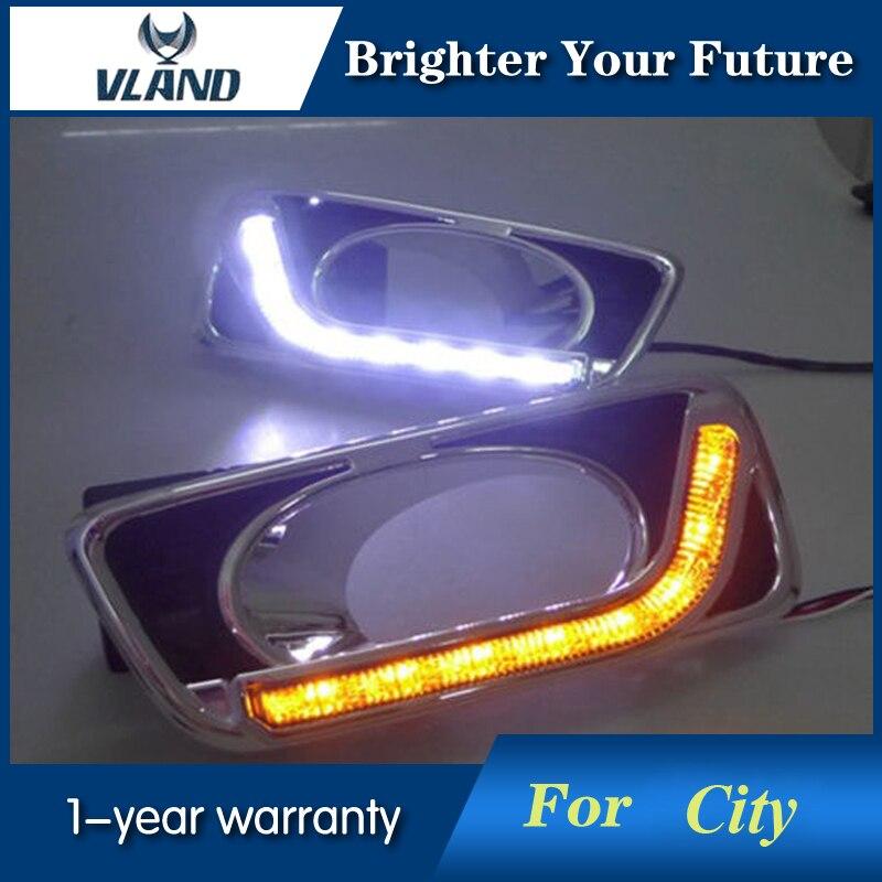 Светодиодные Противотуманные лампы дневного света для Honda города 2012 2013 2014 + светодиод дневного света DRL