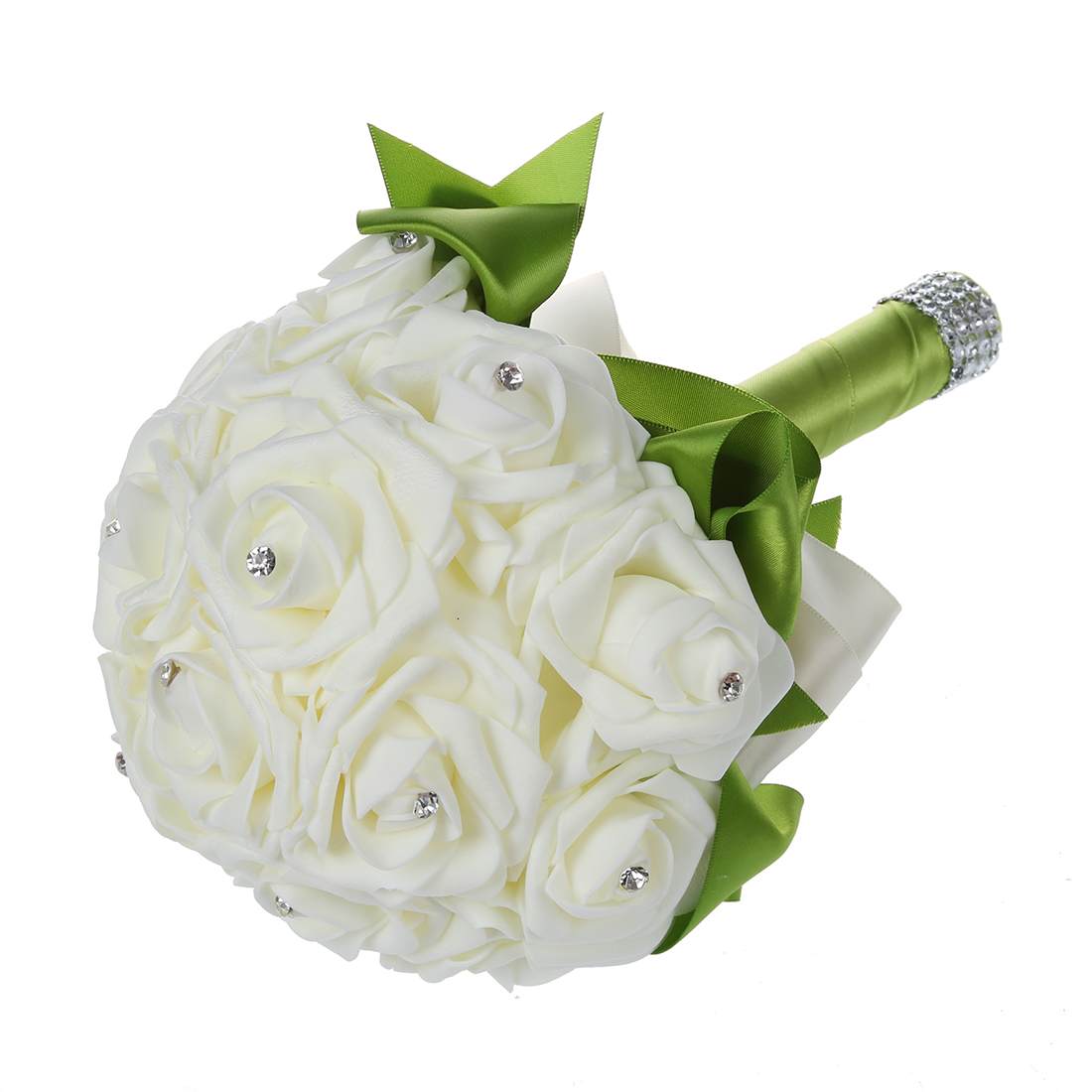 Boutique beautiful wedding bouquet bridal bridesmaid flower boutique beautiful wedding bouquet bridal bridesmaid flower artificial flower rose bouquet white bridal bouquets green ribbon in artificial dried flowers izmirmasajfo