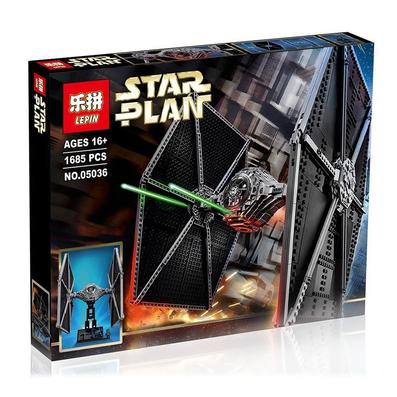 Lepin 05036 Star Wars Tie Thailand Fighter UCS Building Fighter Educational Blocks Bricks Toys Compatible with lego 75095 lepin 05060 star series wars ucs naboo star type fighter aircraft model building blocks bricks compatible legoed 10026 toy gifts