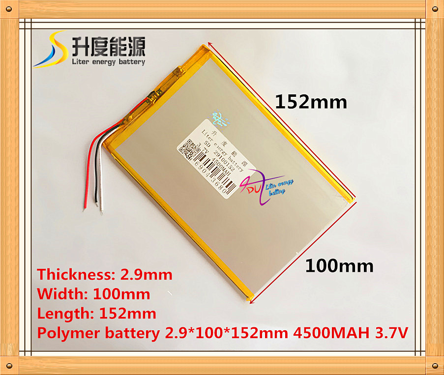 3 wire The tablet battery 3.7V 4500mAH 29100152 Polymer lithium ion / Li-ion battery for tablet pc battery 3 thread 8448104 3 7v 6700mah polymer lithium ion battery rechargeable batteries li ion battery for tablet pc