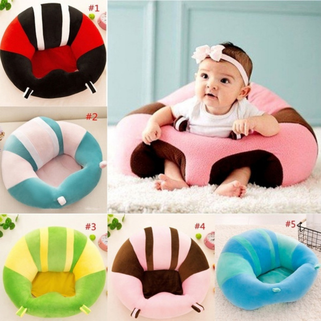 Size Plush Baby Seat Soft Stuffed Infant Learn Sit Sofa Chair Safe Feeding