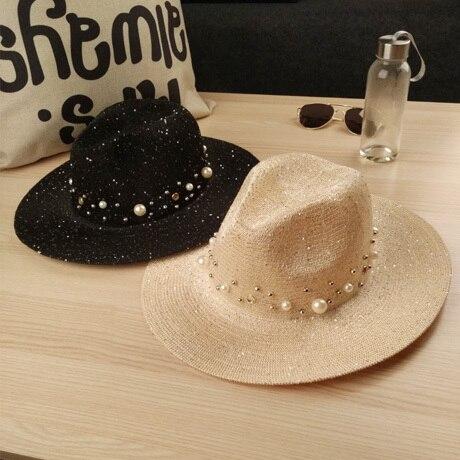 2016 Nuevas Mujeres Del Verano Sombreros De Lentejuelas Visor Cap Brim Jazz de Viaje inglaterra Perla Diamante Gorras de Playa Sombrero de Paja de Las Mujeres Ocasional Del Sombrero Del Sol