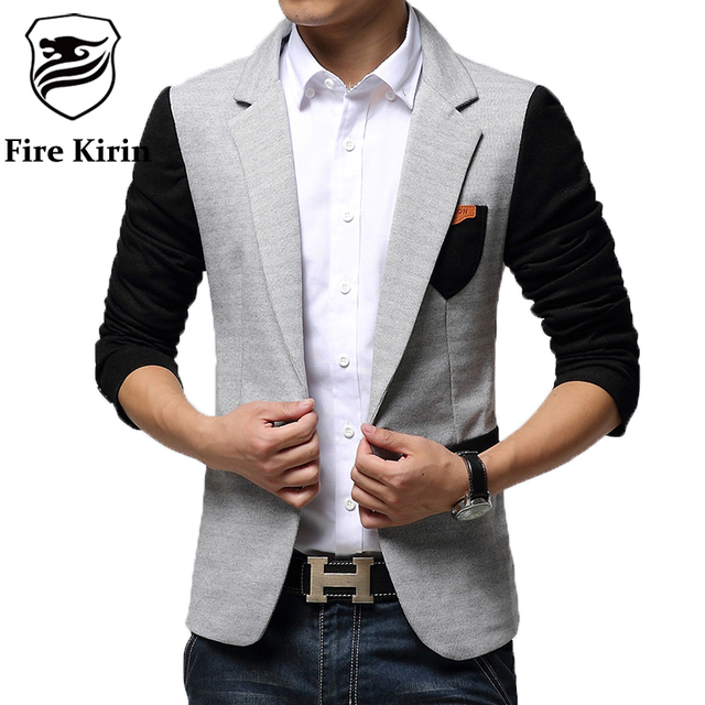 Fire Kirin Men Blazer 2017 New Arrival Slim Fit Unique Mens Blazers Stylish Blue Light Gray Casual Suit Jacket Spring Autumn Q6