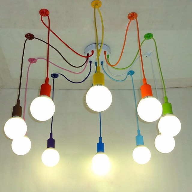 Edison Retro Spider Chandelier Lighting Colorful Pendant Lamp 3 To 12 Head  Multi Colored Silicone