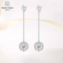 купить Warme Farben Sterling 925 Silver Long Drop Earrings Beating Heart Crystal from Women Earrings Jewelry Party Brincos дешево