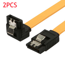 2PCS 90 Degree/Right Angle SATA III Cable 6.0 Gbps With Locking Latch 50cm Yellow  DJA99