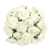 Artificial Foam Flowers Rose Bouquet Bride Bridesmaid Wedding Party Prom Decor Colour Milk White