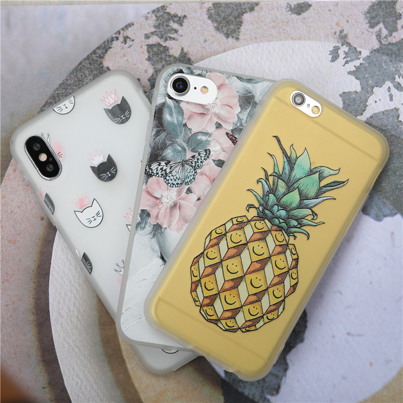 Pineapple Fruit Phone cases For iPhone 7 6 6S 8 Plus X Case butterfly Cute Cat Flower Matte Soft Silicone TPU Back Cover Fundas
