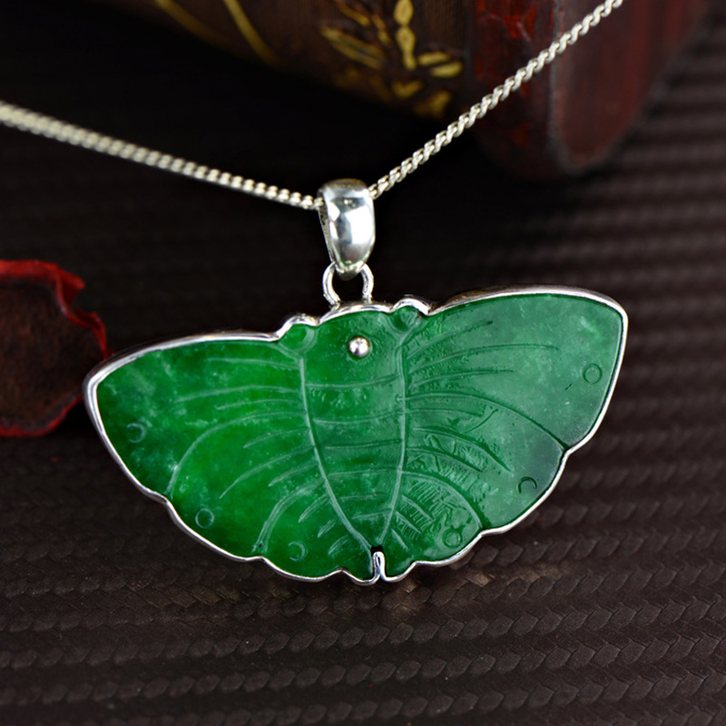 Genuine 925 Silver Butterly Jade Pendant For Women Natural Gemstone Personalized Pendant Necklace Fine JewelryGenuine 925 Silver Butterly Jade Pendant For Women Natural Gemstone Personalized Pendant Necklace Fine Jewelry