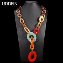 UDDEIN Acrylic Gem Long Necklace 2017 New Big Brand Fashion Trendy Handmade Braided Chain Necklace Women Party Jewelry Wholesale