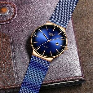 Image 4 - LIGE nowe męskie zegarki Top marka luksusowa modna siatka zegarek na pasku mężczyźni wodoodporny zegarek na rękę analogowy zegar kwarcowy erkek kol saati