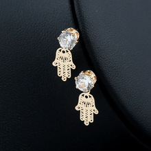 Simple fashion ladies tassel pendant earrings cubic zirconia personality creative hollow palm shape