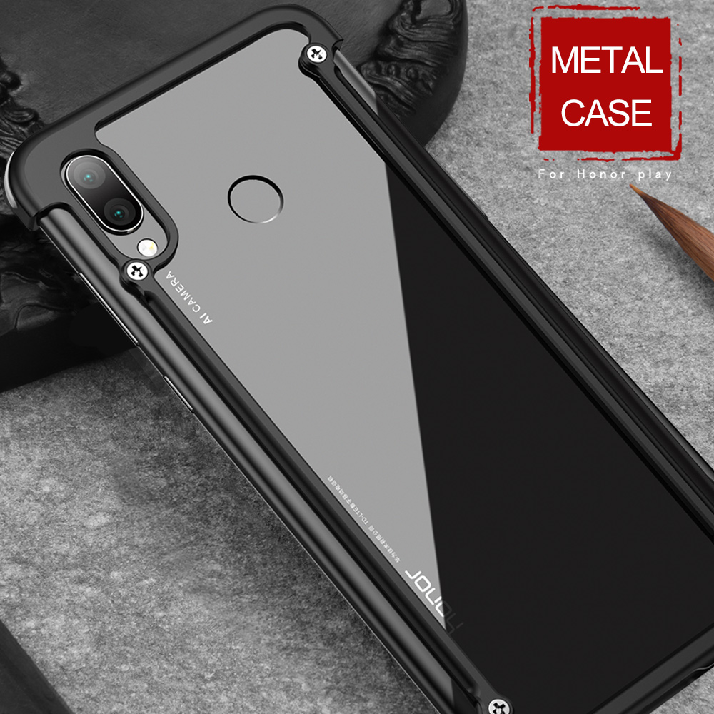OATSBASF Airbag Bumper Metal Case For Huawei Honor Play Case Personality Metal Cover Case For Huawei Honor Play 360 Degree Case