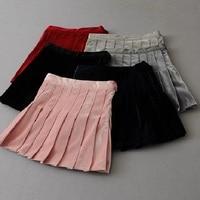 New Spring Autumn Women S Pleated Skirts Solid Velvet High Waist Skirts For Girls