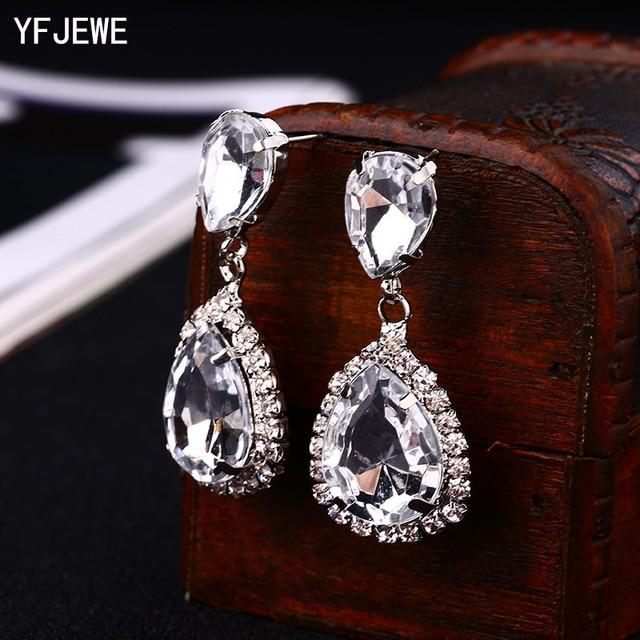 Yfjewe невесты серьги Косметическая ГЕО ZhaoHao популярный горный хрусталь кристалл серьги падения для свадебное платье модные Baldpates # E043