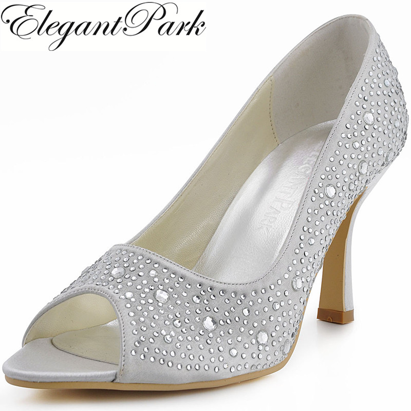 Woman Shoes EP11066 Silver Peep Toe High Heel Party Prom Shoes Rhinestone Satin Women Wedding Bridal Shoes 2015 unique ivory pearl rhinestone wedding dress shoes peep toe high heeled bridal shoes waterproof woman party prom shoes