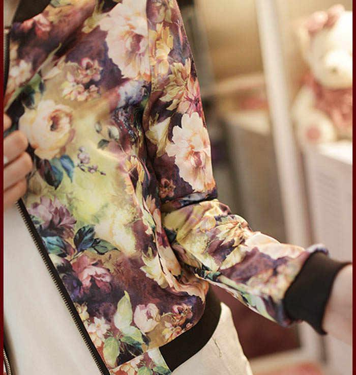 Plus Size Lente Herfst Mode Basic Bomberjack Vrouwen Bloemen Slim Casual Zakelijke Jas Jas Vest Uitloper Campera Mujer
